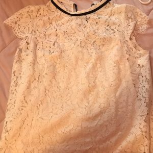 WHBM white lace blouse